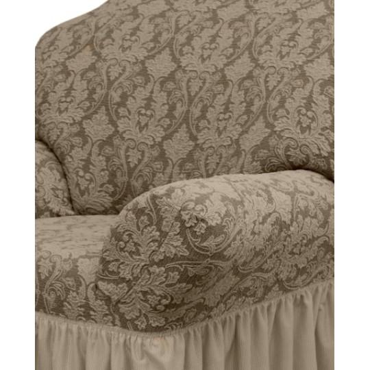 Чехол с оборкой Престиж Диван + 2 кресла, рис 10027 Капучино
