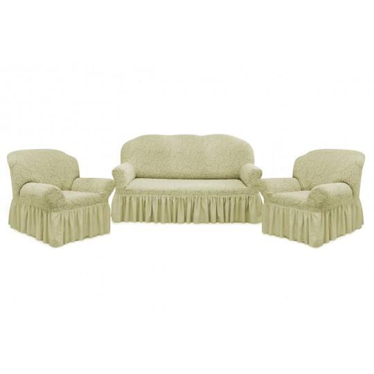 Чехол с оборкой Престиж Диван + 2 кресла, рис 10029 Ваниль