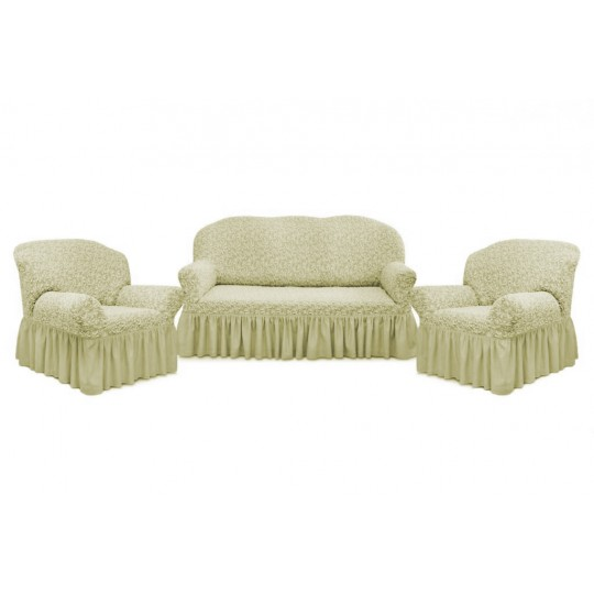 Чехол с оборкой Престиж Диван + 2 кресла, рис 10034 Ваниль