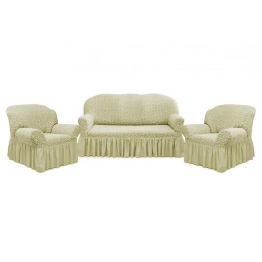 Чехол с оборкой Престиж Диван + 2 кресла, рис 10044 Ваниль