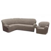 Чехол без оборки Престиж Угловой диван + кресло, рис. 10096 Серый