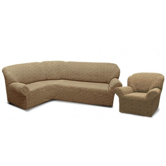 Чехол без оборки Престиж Угловой диван + кресло, рис. 10004 Кофе с молоком