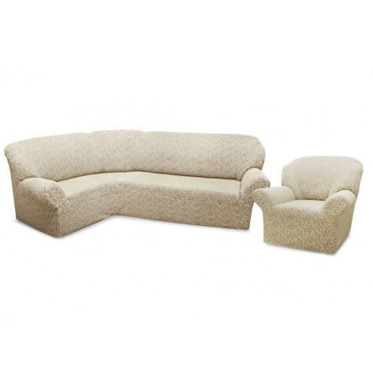 Чехол без оборки Престиж Угловой диван + кресло, рис. 10004 Ваниль