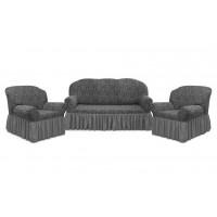 Чехол с оборкой Престиж Диван + 2 кресла, рис 10027 Серый
