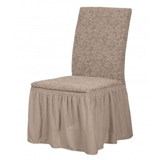 Чехол с оборкой Престиж на стулья (6 шт), рис. 10004 Капучино