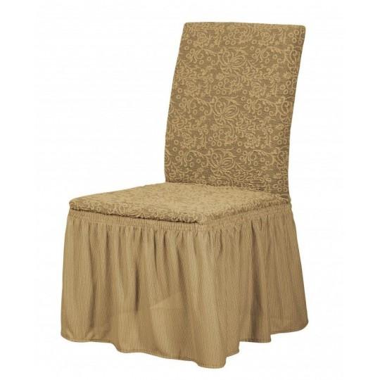 Чехол с оборкой Жаккард на стулья (6 шт), кофейный