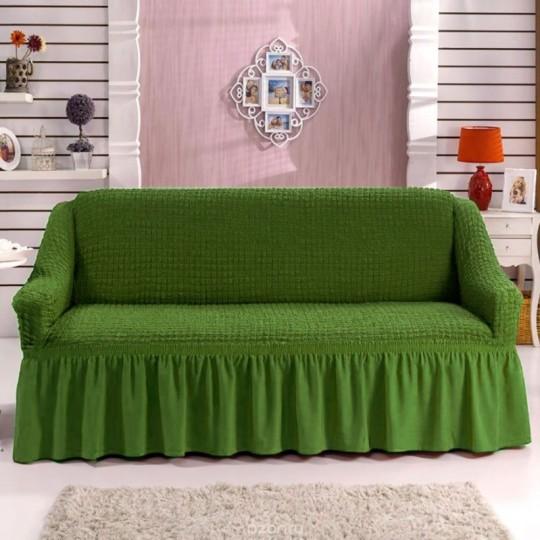 Чехол с оборкой на трехместный Диван, Зеленый