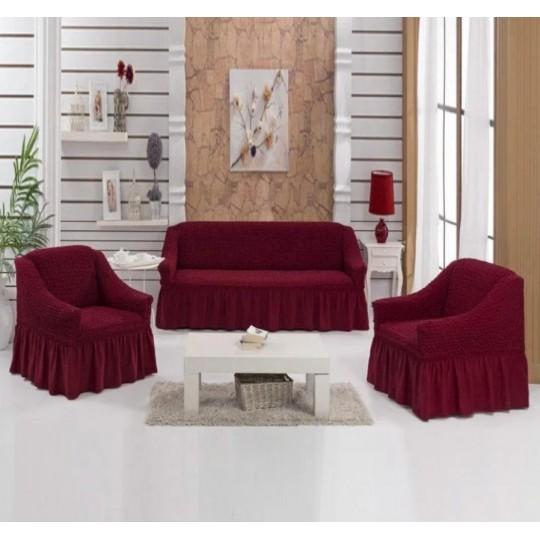 Чехол с оборкой Диван + 2 кресла, Бордовый