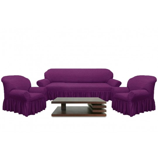Чехол с оборкой Диван + 2 кресла, Фиолетовый