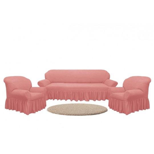 Чехол с оборкой Диван + 2 кресла, Пудра