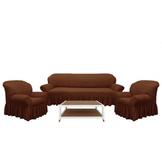Чехол с оборкой Диван + 2 кресла, Шоколад