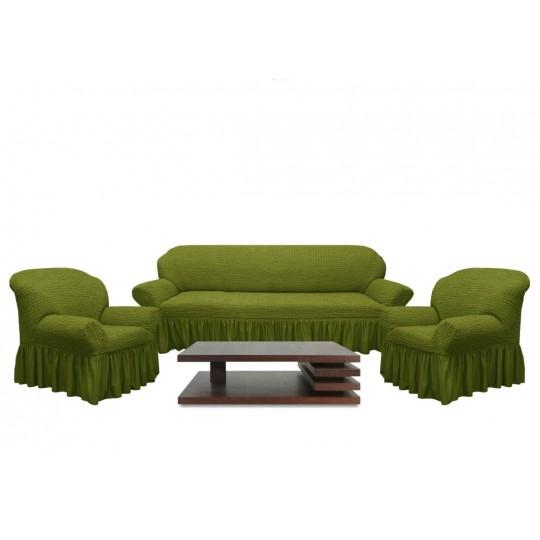 Чехол с оборкой Диван + 2 кресла, Зеленый