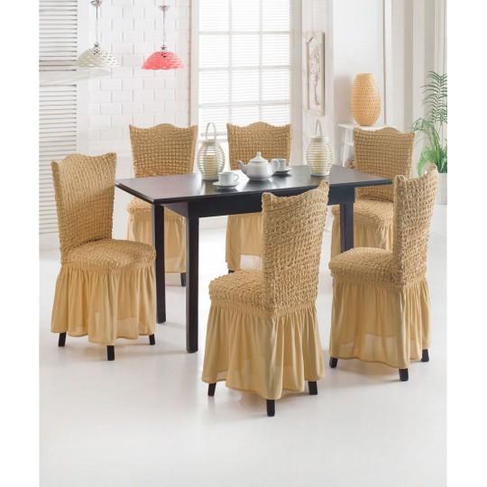 Чехол с оборкой на стулья (6 шт), Бежевый
