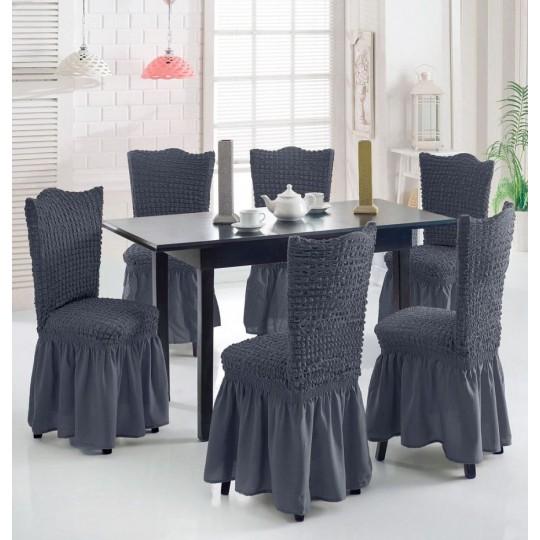 Чехол с оборкой на стулья (6 шт), Серый