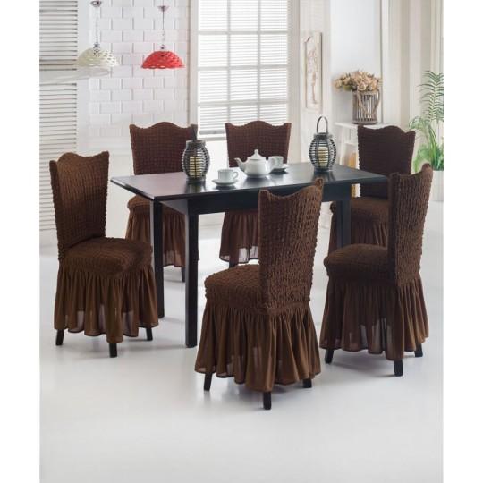 Чехол с оборкой на стулья (6 шт), Шоколад
