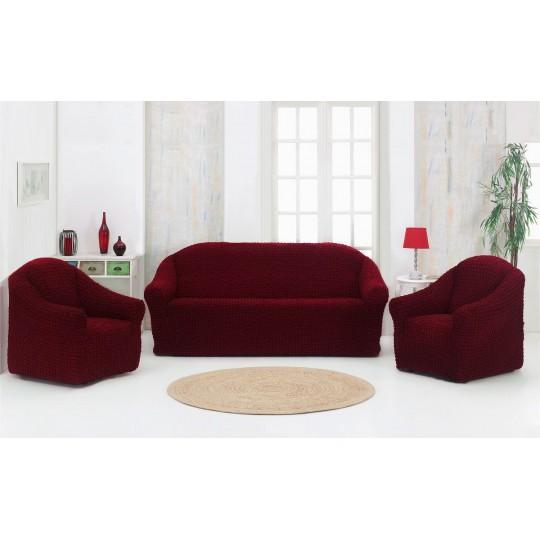 Чехол без оборки Комфорт диван + 2 кресла, Бордовый