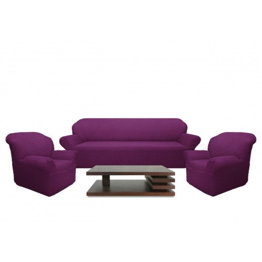 Чехол без оборки Комфорт диван + 2 кресла, Фиолетовый