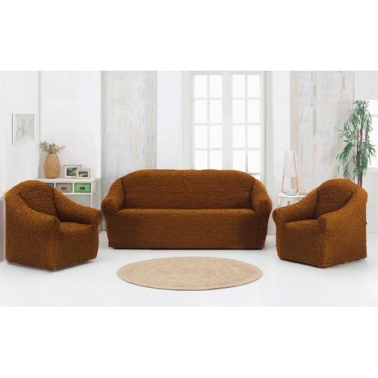 Чехол без оборки Комфорт диван + 2 кресла, Горчица