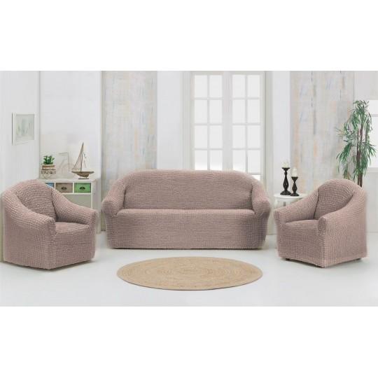 Чехол без оборки Комфорт диван + 2 кресла, Капучино