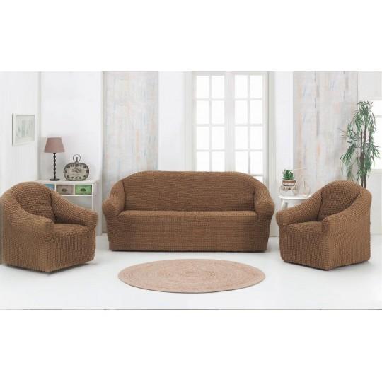 Чехол без оборки Комфорт диван + 2 кресла, Кофе с молоком