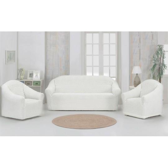 Чехол без оборки Комфорт диван + 2 кресла, Молочный