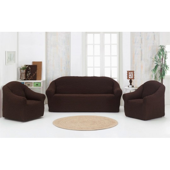 Чехол без оборки Комфорт диван + 2 кресла, Шоколад