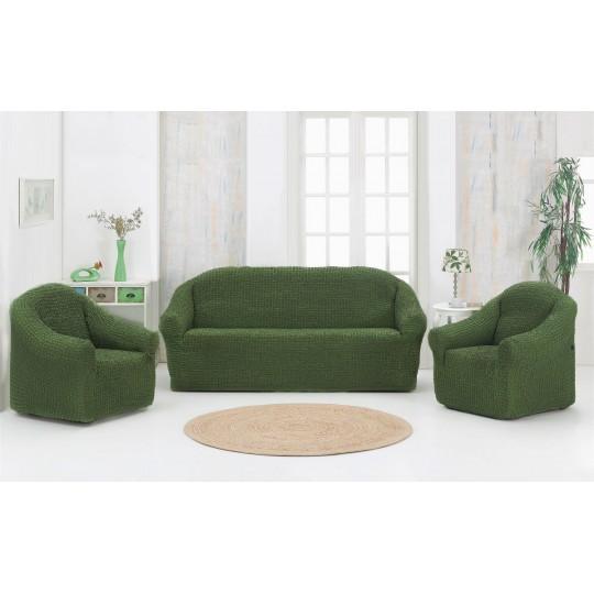 Чехол без оборки Комфорт диван + 2 кресла, Зеленый