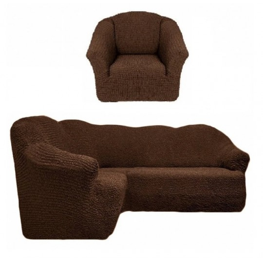 Чехол без оборки Комфорт Угловой диван + кресло, Шоколад