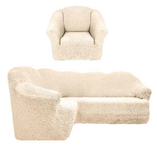 Чехол без оборки Комфорт Угловой диван + кресло, Ваниль