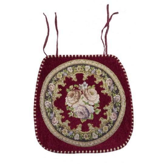 Накидка на стул шенилл с вышивкой, Бордовый