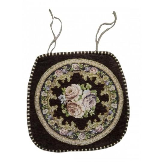 Накидка на стул шенилл с вышивкой, Шоколад
