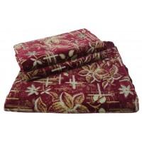 Комплект дивандеков для мягкой мебели 180х220 шпигель, рис. Цветок бордо