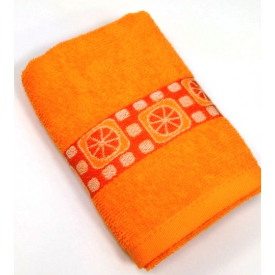 Полотенце махровое с бордюром 30х60 Апельсин