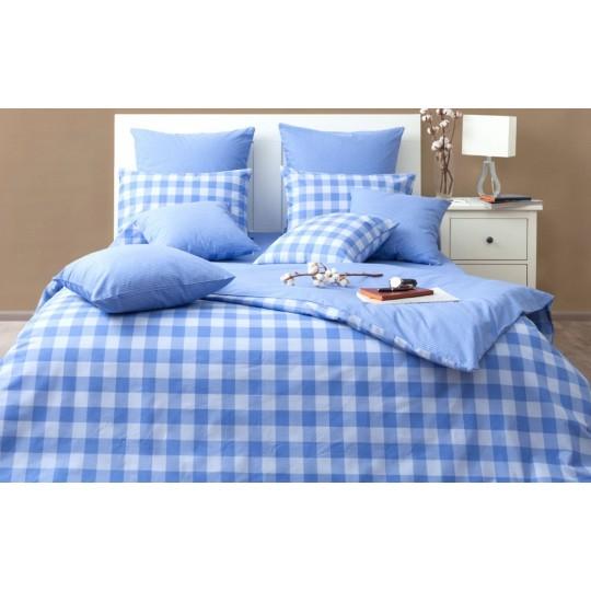 КПБ Хлопковый край бязь-люкс 1,5 спальный рис. Дерби голубой