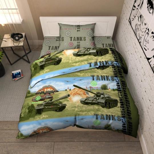 КПБ Василек бязь 1,5 спальный рис. 5336 Танки