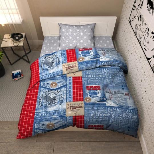 КПБ Василек бязь 1,5 спальный рис. 9341 Джинса
