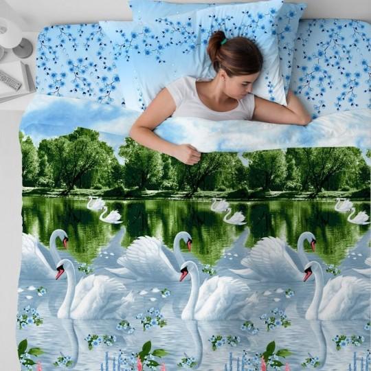КПБ Василиса бязь 2 спальный рис. 5411 Белые лебеди