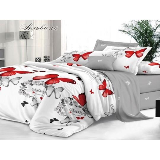 КПБ De Luxe сатин 1.5 спальный,  рис. Альвина
