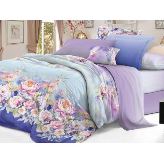 КПБ De Luxe сатин 1.5 спальный,  рис. Эвиана