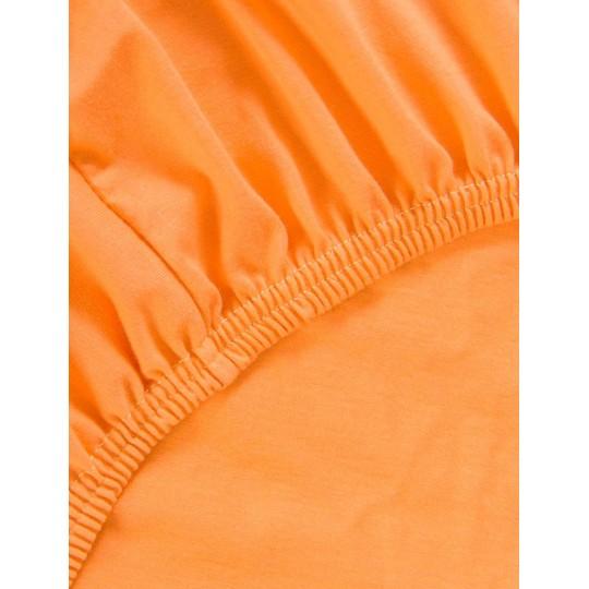 Простыня на резинке Хлопковый край трикотаж 90х200х20, Апельсин