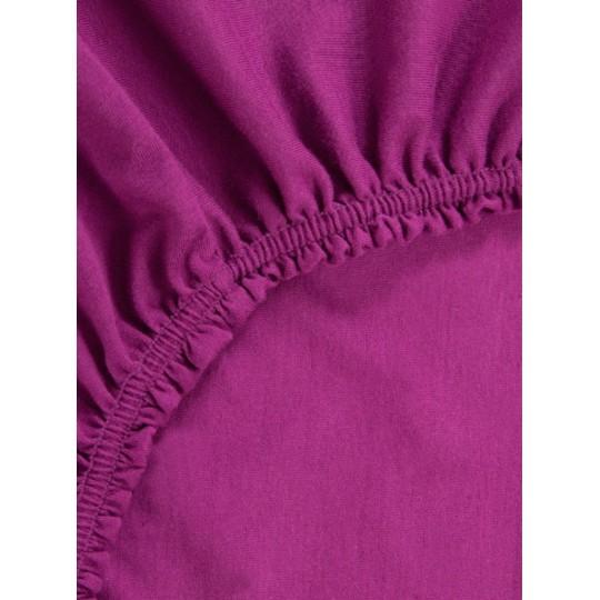 Простыня на резинке Хлопковый край трикотаж 120х200х20, Фиолет