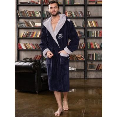 Халат мужской бамбуковый Anchor, капюшон (джинс)