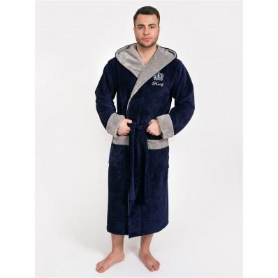 Халат мужской бамбуковый King, капюшон (синий)