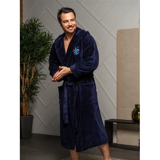 Халат мужской бамбуковый Louis, капюшон (синий)