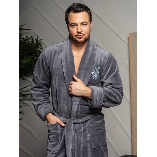 Халат мужской бамбуковый Louis, шалька (серый)