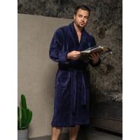 Халат мужской бамбуковый Louis, шалька (синий)