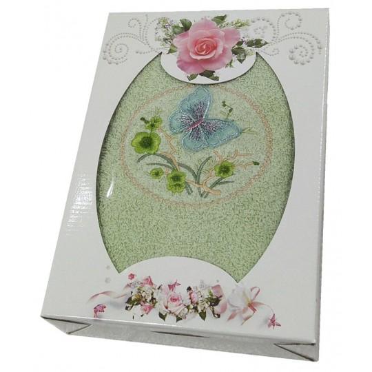 Подарочное махровое полотенце Бабочка на цветке