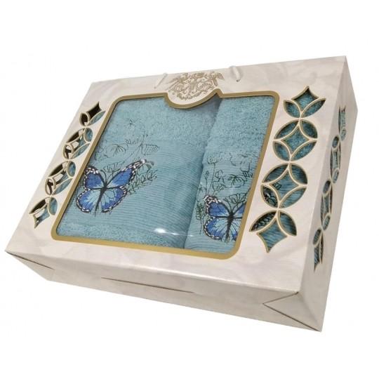 Набор махровых полотенец Великолепная бабочка, голубой