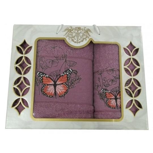 Набор махровых полотенец Великолепная бабочка, пурпурный