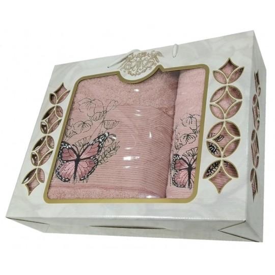 Набор махровых полотенец Великолепная бабочка, пудра